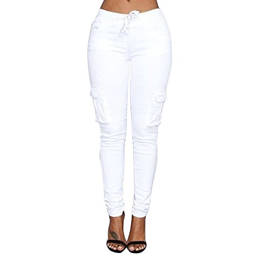 Xmiral Women Pants Polyester Fashion Sexy High Waist Stretch Slim Drawstring Tied Pencil Trousers