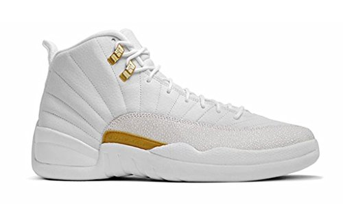 air-12-retro-mens-womens-white-gold-ovo-white-leather-basketball-shoes