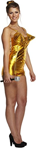 (Emmas Wardrobe 80er Abendkleid Gold-PopstarCostume - 1980er Jahre Singen stat Kostüm für Halloween und Retro Events - UK Größe 8-14 (Women: 36, Gold))