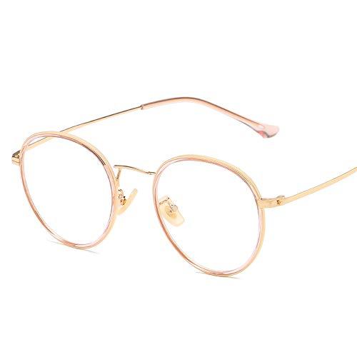 Vintage Retro Fashion Eyewaer Für Männer Frauen Unisex Spectaclesn Brillen Rahmen Klare Linse Plain Gläser Brille (Color : Gold, Size : Kostenlos)