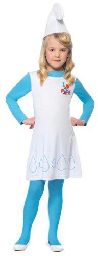 Original Die Schlümpfe Lizenz Schlumpfkostüm Schlumpfine Kostüm für Kinder Kinderkostüm der blauen Schlümpfe blau blond Smurfs Fasching KarnevalGr. 98-104 (T), 110-122 (S), 128-134 (M), 140-158 (L), (Schlumpfine Perücke)