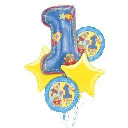 Hugs and Stitches Boy 1st Birthday Balloon Bouquet by Factory Card and Party Outlet