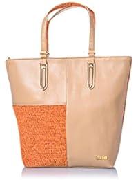 Veuza Merry Premium Jacquard And Faux Leather Tangy Orange Women's Tote