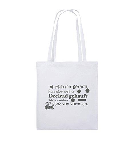 Comedy Bags - Hab mir gerade Bauklötze und ein Dreirad gekauft - Neuanfang - Jutebeutel - lange Henkel - 38x42cm - Farbe: Schwarz / Silber Weiss / Grau