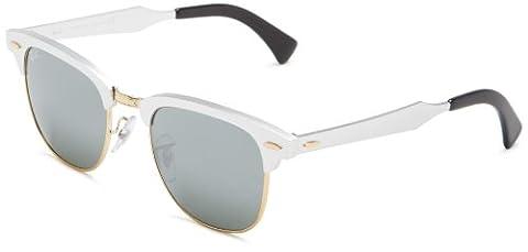 Ray Ban Unisex Sonnenbrille Clubmaster Aluminium Silber (Gestell: Silber, Gläser: Silber Verspiegelt 137/40), Medium (Herstellergröße: 49)