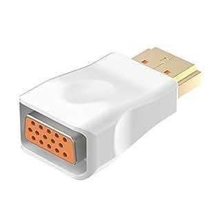 HDMI su VGA, Rankie Placcato Oro HDTV HDMI su VGA Adattatore Convertitore Maschio a Femmina (Bianca) - R1150C