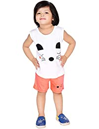 NEW GEN Baby Boy's and Baby Girl's Cotton T-Shirt and Pants (Orange White, 2-3 Years)