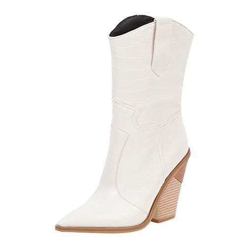 Damen Winter Stiefel 2019 Damen Wedges Pointed Toe Bequeme bestickte Western Rodeo Cowboystiefel Wild Ausgehen Basic Warm Wadenlänge Knielänge Stiefel(Weiß,43)