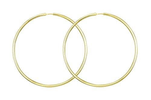 Ohrringe, Creolen, Gelbgold 585 / 14 K, Außendurchmesser 60 mm, Breite 1.8 mm, Gewicht ca. 2.5 g., NEU