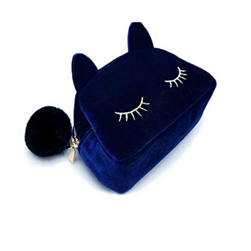 ACECOREE- Mini Make-up Tasche Damen Mädchen Katze Plüsch Kulturbeutel Portable Cartoon Katze Make-up Aufbewahrungstasche Kosmetiktasche -