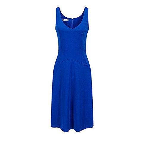 Frauen Sommer Sleeveless Kleid Cocktail Vintage Retro Kleid Knielang Business Abenkleid Festlich Partykleid Schwarz weiß Blau Rot Blau