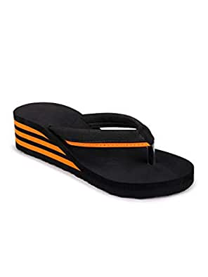 Pkkart Women's Orange High Heel Comfort Flip Flop -Euro 37/IND 4