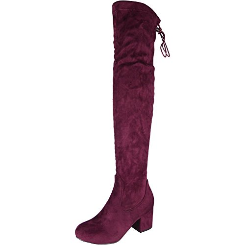 Womens Ladies Thigh High Over The Knee Boots Lace Up Long Low...