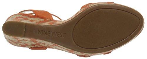 Nine West Womens Anadulo Leather Wedge Sandal Orange