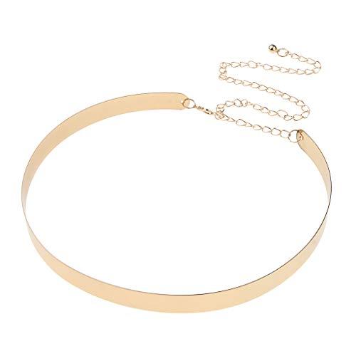Baoblaze Womens Spiegel Metall Taillengürtel Goldplatte Taillenband Mit Kette - Gold, 3,5 cm