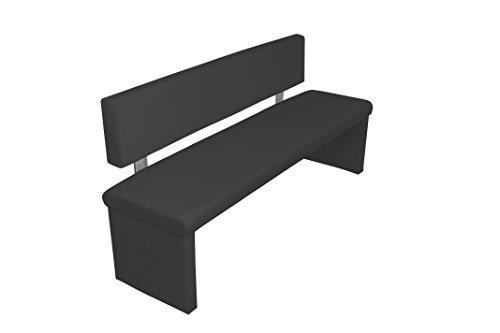 Homexperts Sitzbank CHARISSE , Küchenbank 160 cm breit mit Rückenlehne in schwarz , Moderne, gepolsterte Bank mit Lehne , Kunstleder-Bank schwarz , Maße inkl. Lehne: 160 x 54 x 83 cm (B x T x H)