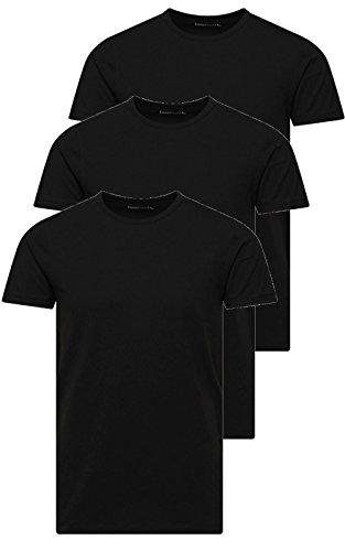 Jack and Jones Herren T-Shirt Basic Rundhals 3er Pack Einfarbig Slim Fit in Weiß Schwarz Blau Grau inkl Gratis Wäschenetz von B46 (L, 3er Pack O ()