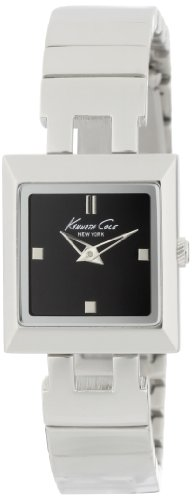 Kenneth Cole Women's Quartz Watch with Black Dial Analogue Display and Silver Stainless Steel Bracelet KC4744
