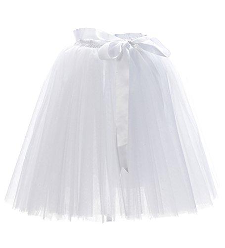 Facent Mädchen 7 Schichten Knielang Tüllrock Tutu Tüll Kleid Rock Reifrock Abendrock Weiß