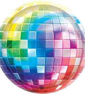 Disco Pappteller Discokugel Party-Deko 8 Stück bunt 26,5cm Einheitsgröße ()