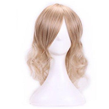 HJL-35 cm harajuku anime cosplay Perücken junge wellenförmige lockige synthetische Haarperücken Frauen Halloween-Kostüm sexy blonde Perücken , jet black