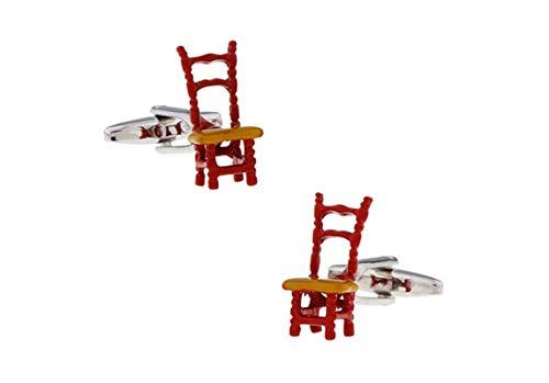 DOLOVE Manschettenknöpfe Herren Personalisiert Stuhl Manschettenknopf Rot - Herz-zurück-stuhl