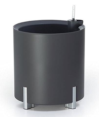 Design Pflanzgefäß 45 cm Höhe 40 cm Durchmesser rund mit Alufüßen und Bewässerungssystem GRATIS (Anthrazit)