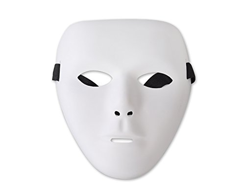 (Leere Männer Maske Gesichtsmaske Herrenmaske Kunststoff Maskerade Für Halloween/ Karneval/ Fasching/ Party/ Masquerade/ Cosplay - Weiß)