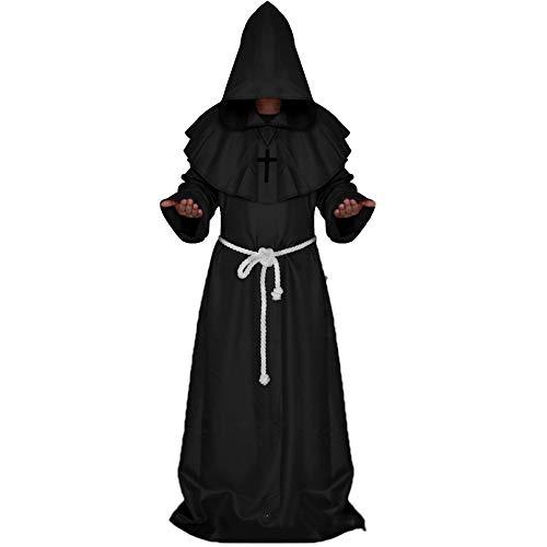 FABBD Halloween Cosplay Kostüm Mittelalterlichen Mantel Mönch Robe Server Priester Kostüm Magier,Black,L
