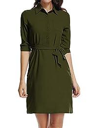 c2e1c5ec66e8 Fellissy Damen Kleider Tshirt Kleid Casual Blusenkleider mit Gürtel und  Tasche sexy Umlegkragen Langarm Hemdkleider Strandkleid