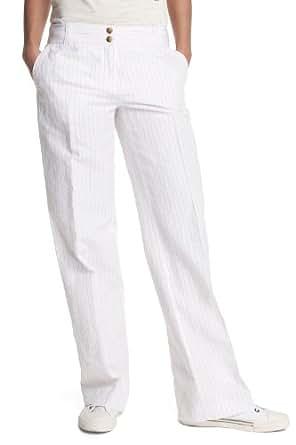 ESPRIT Collection Damen Hose, gestreift C23280, Gr. 40/32 (L), Weiß (coll white 118)