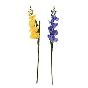 2 Piezas Bricolaje Flor Gladiolo Artificial Casa Decoración Boda Arreglo Floral – Azul Amarillo