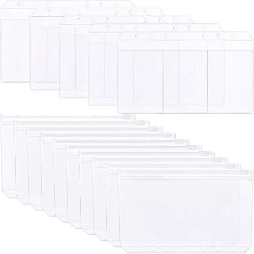 tatuo 30Arten Kunststoff transluzent 2-A6Größe 6Löcher Loose Leaf Karte Taschen, 20Stück Tasche mit Reißverschluss und 10Stück Business 3-card Aufbewahrungstasche - E-mail Umschläge, Kunststoff
