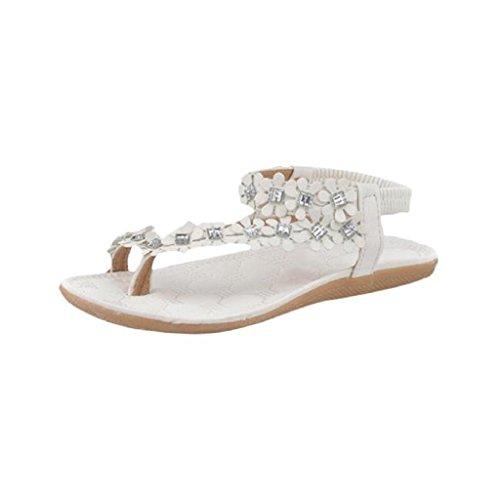 Damen Sandalen, SHOBDW Damen Frauen Sommer Böhmen Blumen Perlen Flip-Flop Schuhe flache Sandalen (39, Weiß) (Damen Neue Leder Sandalen Flachen)