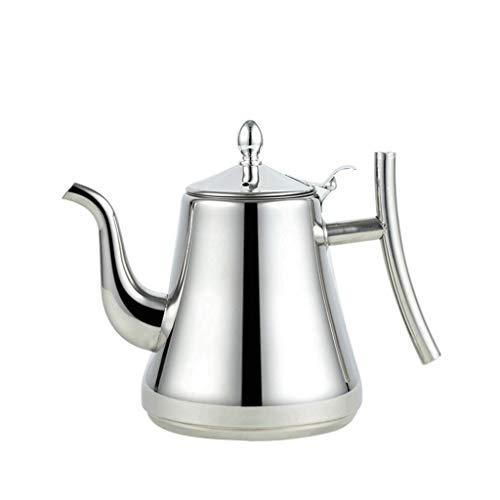 JXLBB Miroir argenté Directe 304 épaisse en acier inoxydable bulle théière fleur théière restaurant restaurant avec filtre commercial thé bouilloire (Capacity : 1.5L)