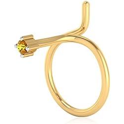 IskiUski 14KT Yellow Gold and Yellow Sapphire Nose Pin for Women