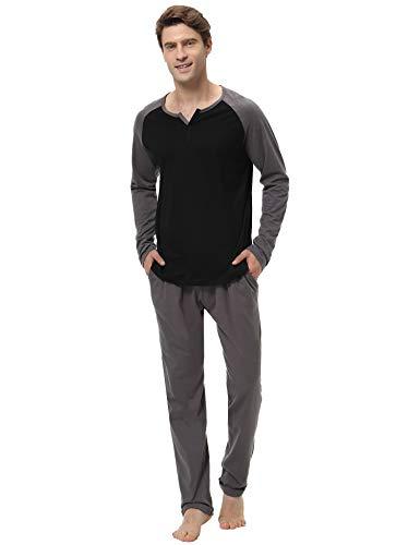 Aibrou Herren Schlafanzug Baumwolle Lang Pyjama Set Langarm Hausanzug Nachtwäsche mit Kontrastfarbe Zweiteilig für Winter Zweiteilig Zweiteilig Schwarz L