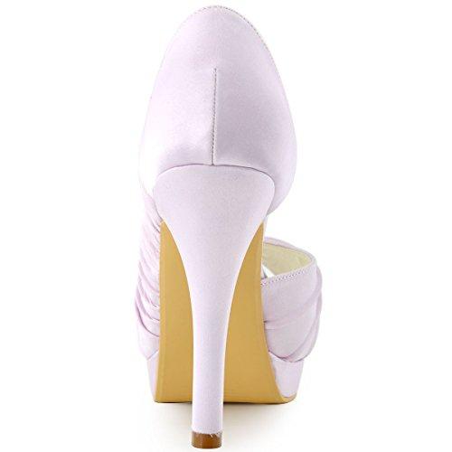Elegantpark EP11064-IPF Bout Ouvert Pliez Satin Strass Aiguille Talon Pumps Femme Chaussures de Mariage Lavande