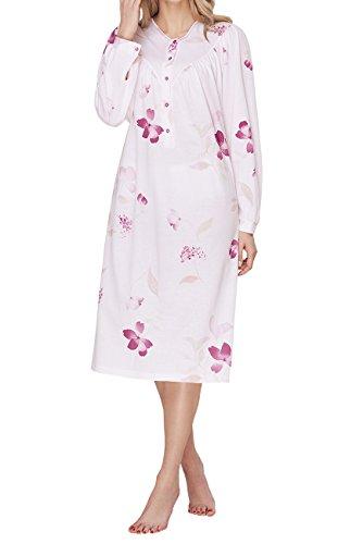 Cybele Damen Nachthemd langarm mit Knopfleiste Länge 110 cm Gr. 48 Sleepshirt Nachtwäsche (Muster Baumwolle Sleep-pants)