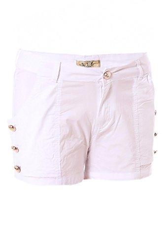 Hotpants Stoff Panty Shorts mit Gold Knöpfe Weiß