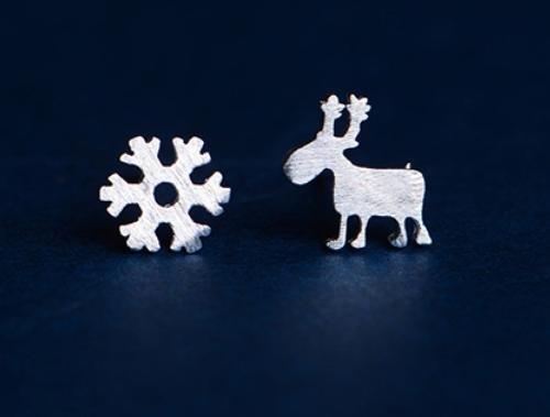 &QQ Fatto a mano, lucidato a mano argento sterling 925, cervi del fiocco di neve orecchio unghie, gioielli, fresco, classico stile retrò cinese, regalo creativo