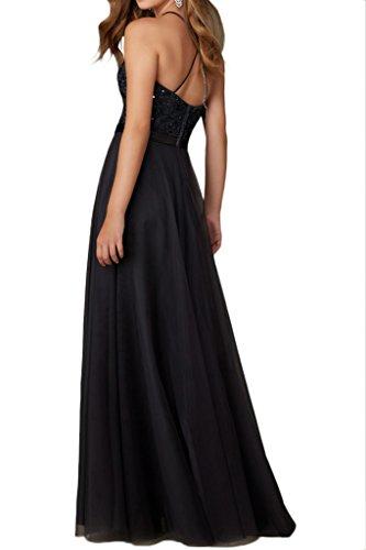 Promgirl House Robe du soir Robe de cocktail Robe de bal séduisante Noir Broderie Bretelles en A Noir