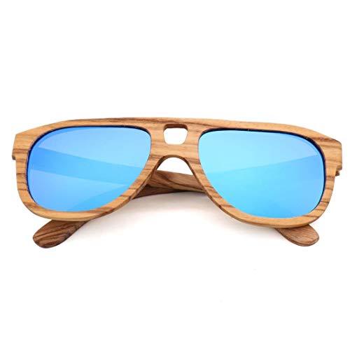 Vintage Bambus Holz Aviator Sonnenbrille mit polarisierter Linse zum Fahren Brille (Farbe : Blau)