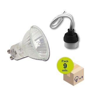 HALOTEC Pack 9 bombillas halogenas dicroicas GU10 regulables 230V 50 Vatios color cálido 2900º K con portalamparas incluidos GU10
