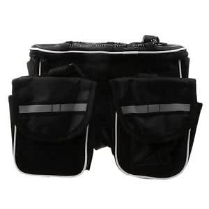 Cycling Bike Front Frame Pannier Saddle Tube Bag Double Pouch Holder Black