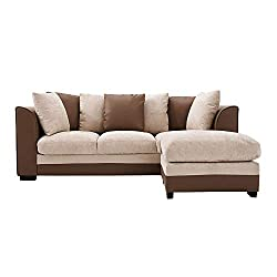 Wellgarden Faux Leather and Fabric 3 Seater Sofa Corner Group Sofa with Footstool L Shaped Sofa Settee Left or Right Chaise Couch, Beige and Brown (3 Seater with Footstool)