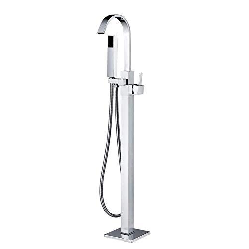 Rozine de salle de bain robinet de baignoire Système de douche sur pied de fixation au sol Douchette Bec de remplissage Unique Boutons, Chrome Laiton poli