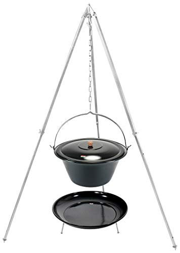 Grillplanet Kesselgulasch Topf 30 Liter mit Dreibein Gestell 1,60 m und Feuerstelle/Set Gulaschtopf mit Deckel
