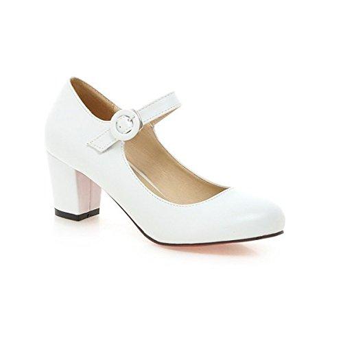 XINJING-S Meotina Frauen Schuhe Mary Jane Damen High Heels weisse Hochzeit Schuhe dicker Absatz White