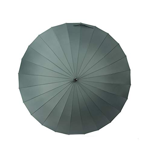 YA-Uzeun Großer Regenschirm, manuelles Öffnen und Schließen, langer Regenschirm mit 24 Rippen, langlebig und stark genug grün